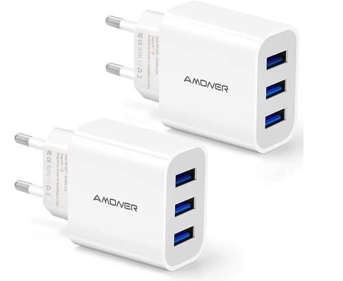 Cargador de viaje 3 puertos USB
