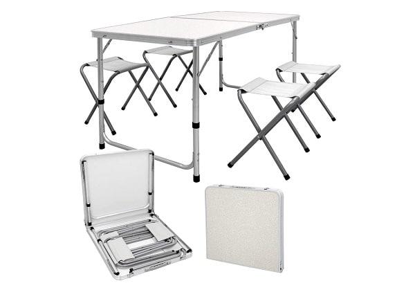 Gran mesa de camping plegable de aluminio - 6 personas