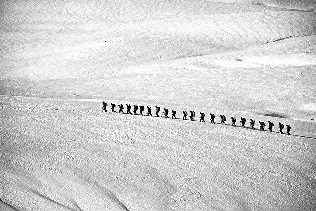 trekking sur un glacier